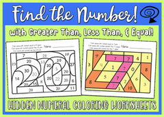Find the Number! 1-30 Worksheets - Greater Than, Less Than, Equal To