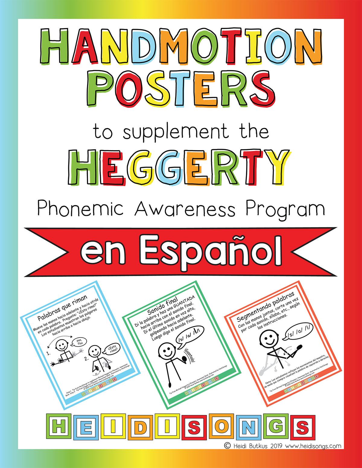 Handmotion Posters to Supplement the Heggerty Phonemic Awareness Program en Español
