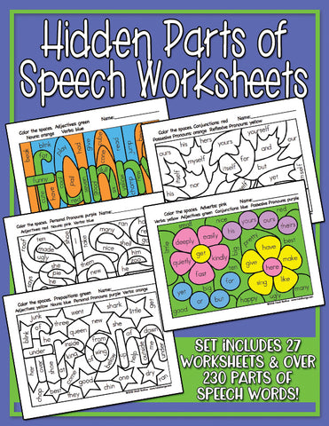 Heidi Songs: Hidden Parts of Speech Worksheets