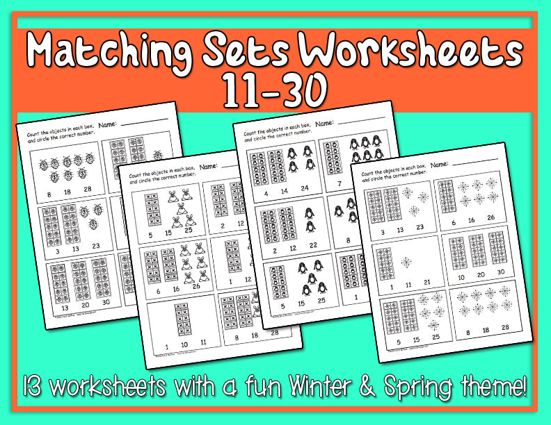 Matching Numbers Worksheets 11-30