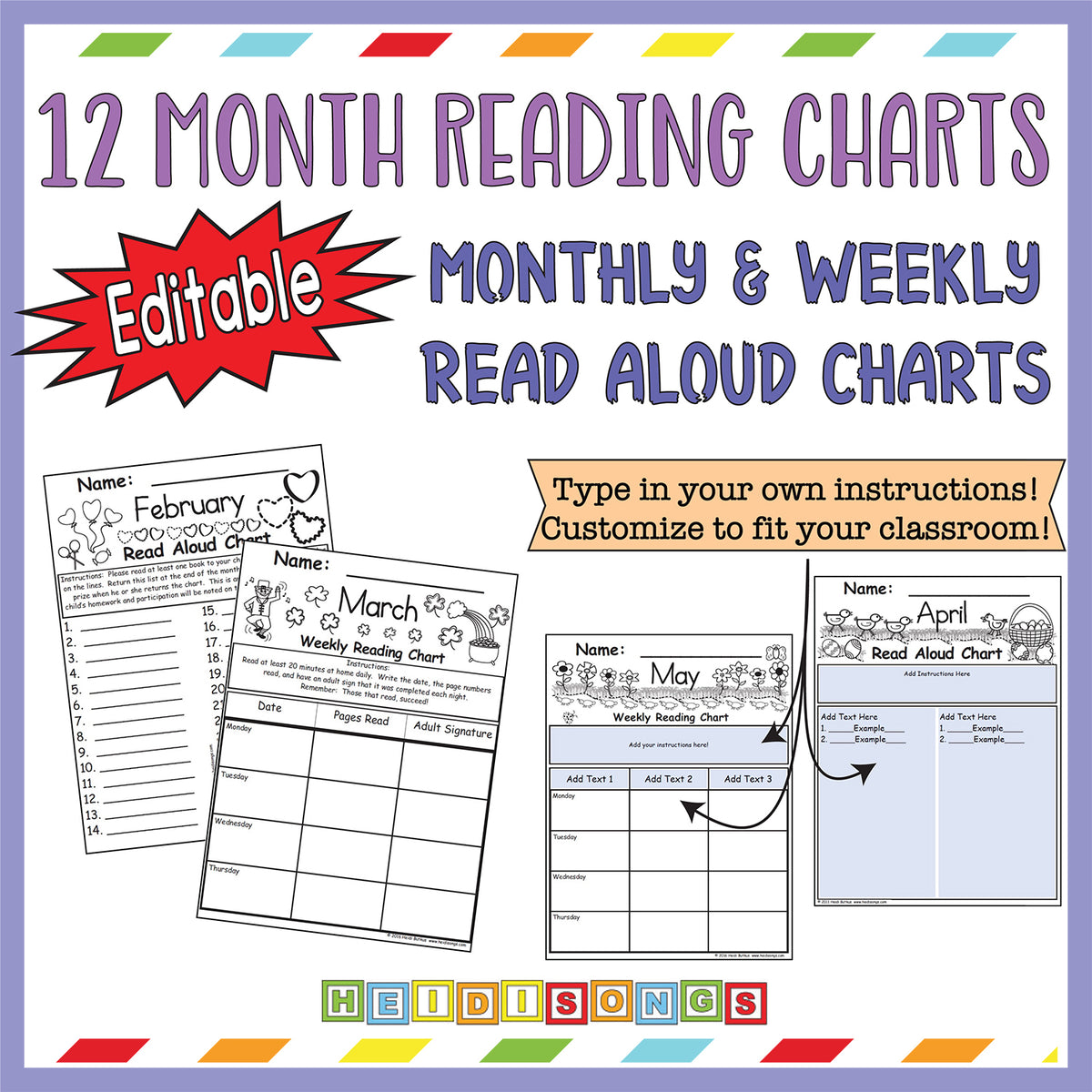 12 Monthly & Weekly Read Aloud Charts (Editable)