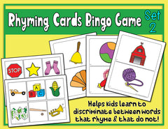 Rhyming Cards Activity and Bingo Game Version 2
