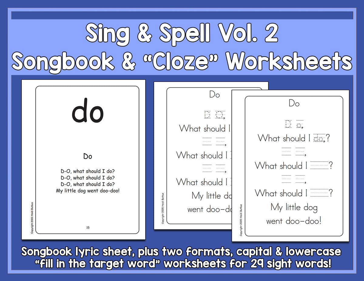 Sight Words 2 - Songbook & Worksheets
