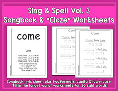 Sight Words 3 - Songbook & Worksheets