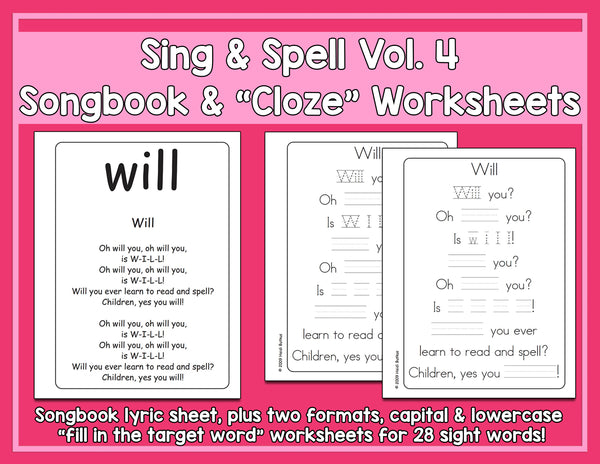 Sight Words 4 - Songbook & Worksheets