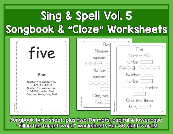 Sight Words 5 - Songbook & Worksheets