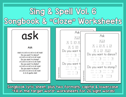 Heidi Songs: Sight Words 6 - Songbook & Worksheets