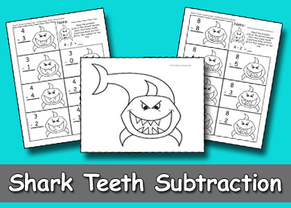 Shark Teeth Subtraction Activity & Worksheets