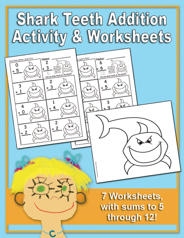 Shark Teeth Addition Activity & Worksheets