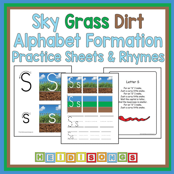 Sky Grass Dirt Alphabet Formation Practice Sheets