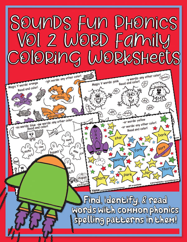 Color by Word Family Worksheets - Sounds Fun Phonics Volume 2