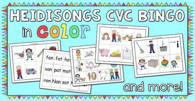 HeidiSongs CVC Bingo in COLOR, and More!