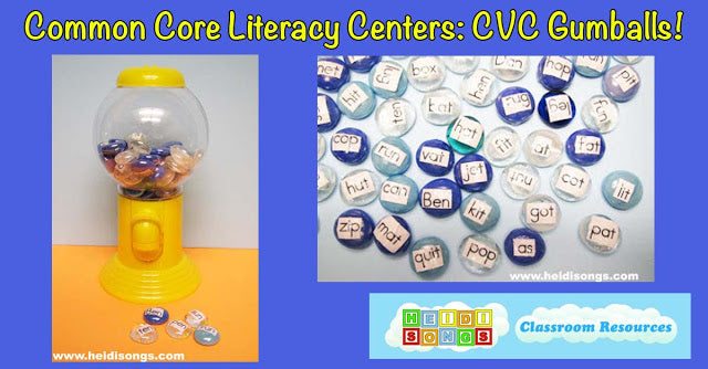 Common Core Literacy Centers: CVC Gumballs!
