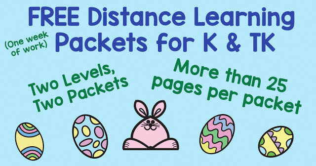 Distance Learning Packet: Easter Eggs & Bunnies