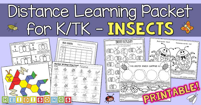 INSECTS - Another (Printable) Distance Learning Packet for TK/K!