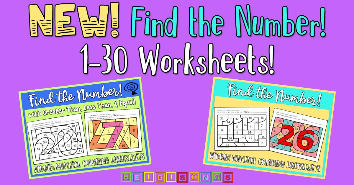 Find the Number 1-30 Worksheets