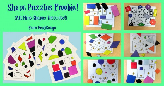 Shape Puzzles Freebie (NINE Flat Shapes Included!)