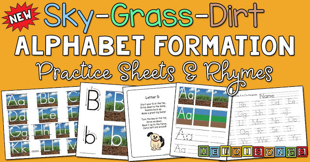 Sky-Grass-Dirt Alphabet Formation Practice Sheets and Rhymes!