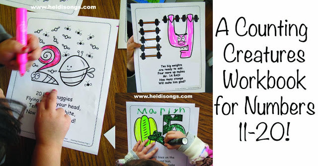 A Counting Creatures Workbook for Numbers 11-20!