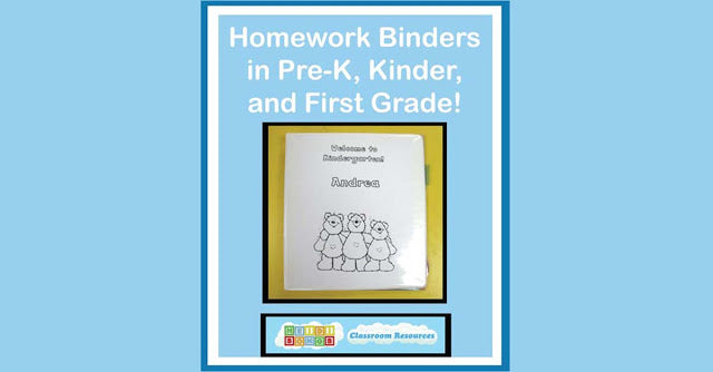 Homework Binders for Pre-K, Kindergarten, and First Grade