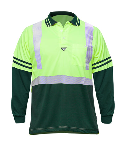 Long Sleeve Yellow/Green Polo (Day/Night) (VDLSFLPYEGR)