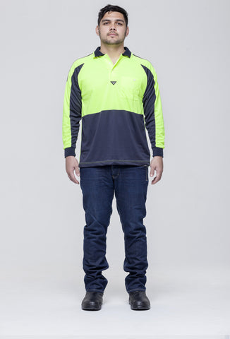 Hi Vis Long Sleeve Raglan Printed Polo (VDLSPRP)