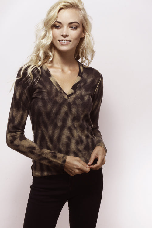 Brown Black Tie Dye V-Neck - Knitwit