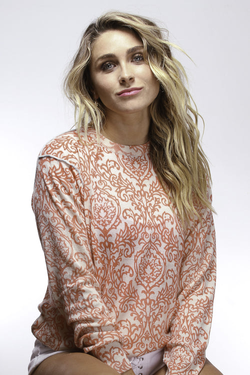 Coral Damask Comfy Crew - Knitwit
