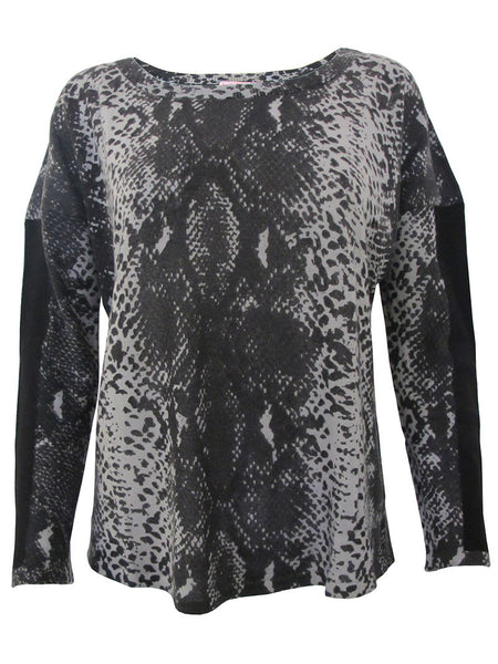 100% Cashmere Grey Python Elbow Patch Crew