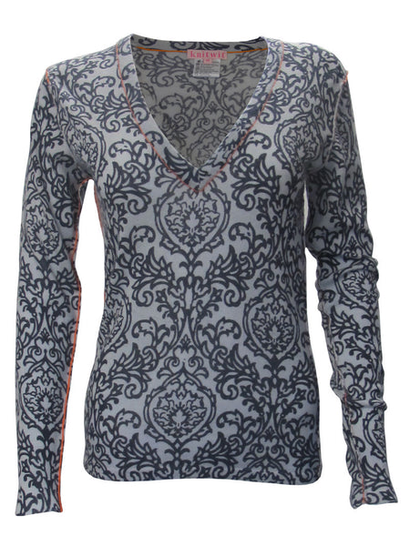 100% Cashmere Damask V-Neck