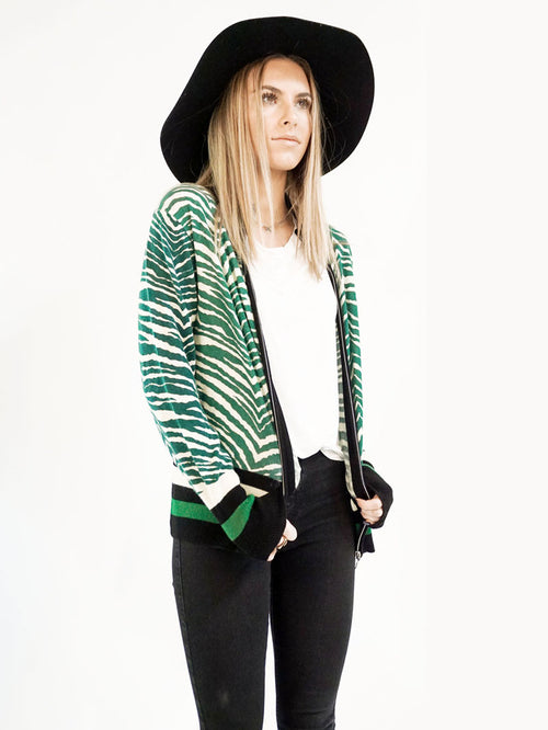 Green Zebra Track Jacket - Knitwit
