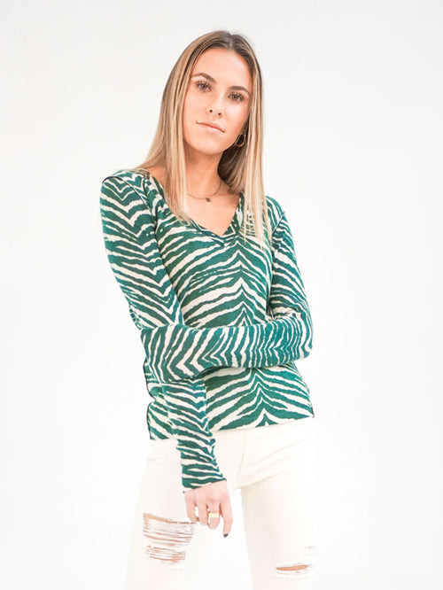 Green Zebra V-Neck - Knitwit