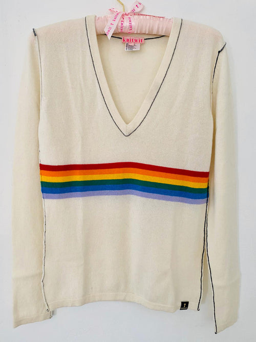 Ivory Rainbow V-Neck - Knitwit