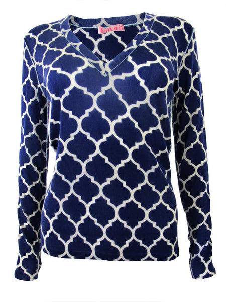 100% Cashmere Navy Moroccan Lattice V-Neck