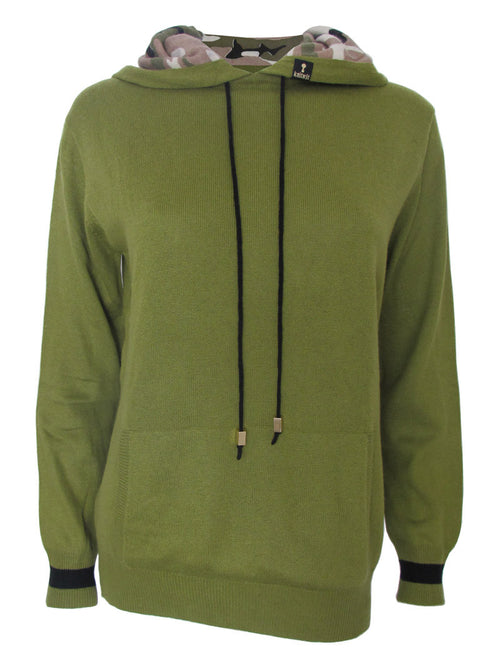 Wasabi Green Cashmere Pullover Hoodie - Knitwit