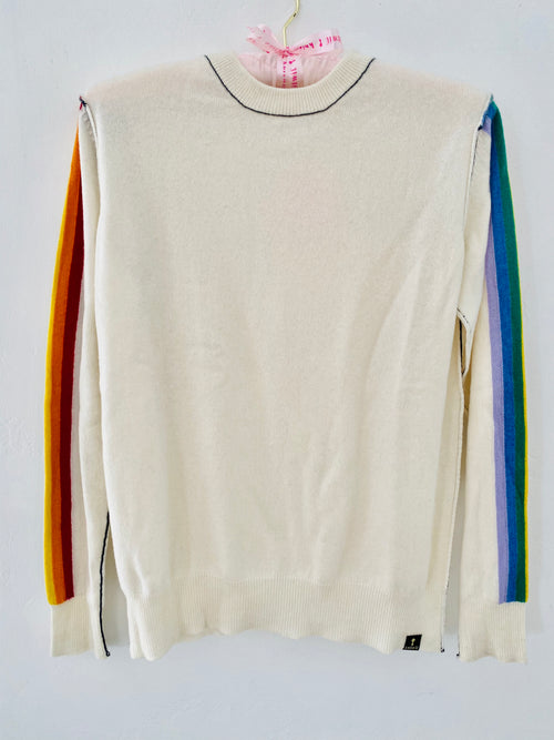 #1 Best selling! Ivory Rainbow Crew - Knitwit