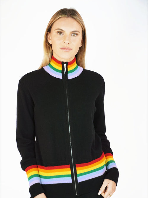 Black Rainbow Track Jacket - Knitwit