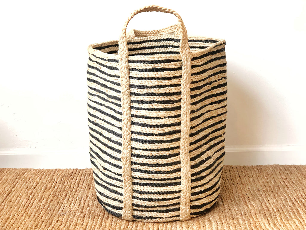 Handwoven Jute Basket Striped Tall