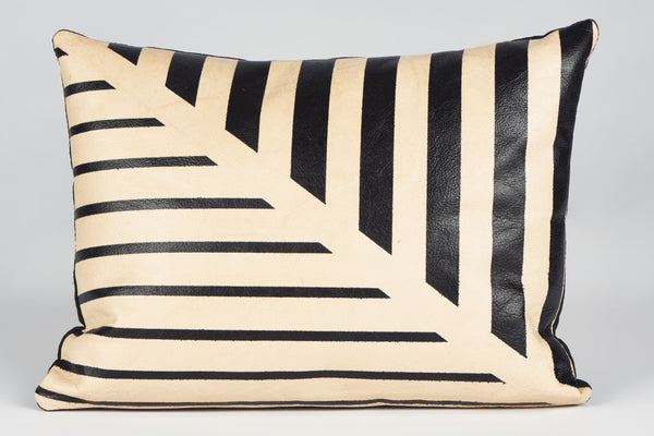 Black Lines Hand-Painted Leather Pillow - Small