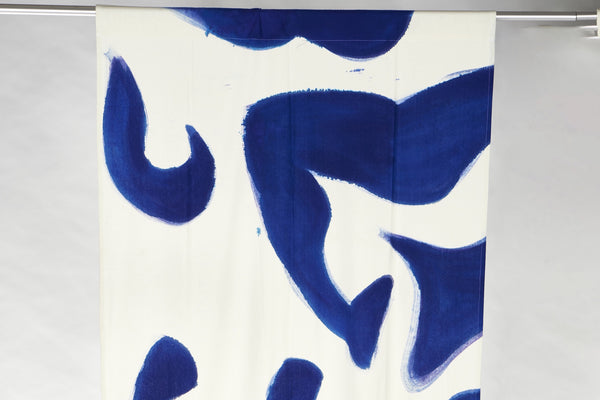 Hand-Painted Blue Silk Noil Curtain Panels