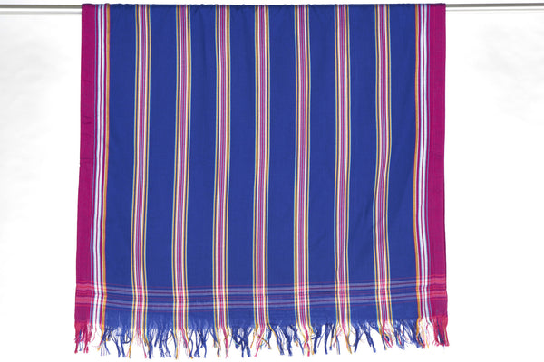 Sarong Towel - Blue with Orchid Stripes