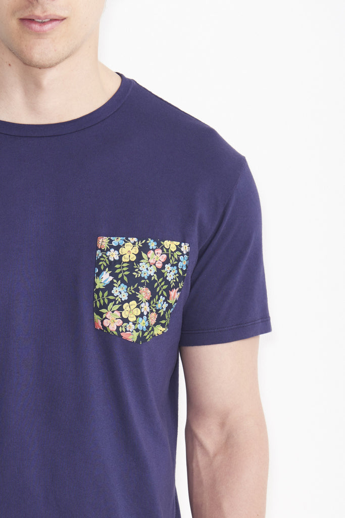 Blue Multi-Colored Floral T-Shirt