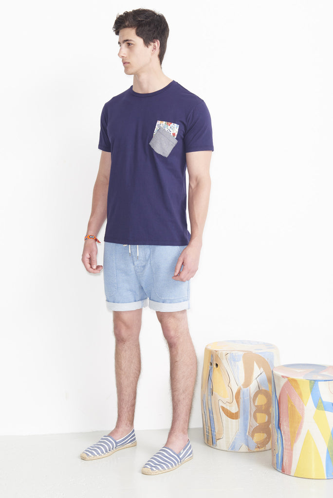 Double Pocket Floral Denim T-Shirt