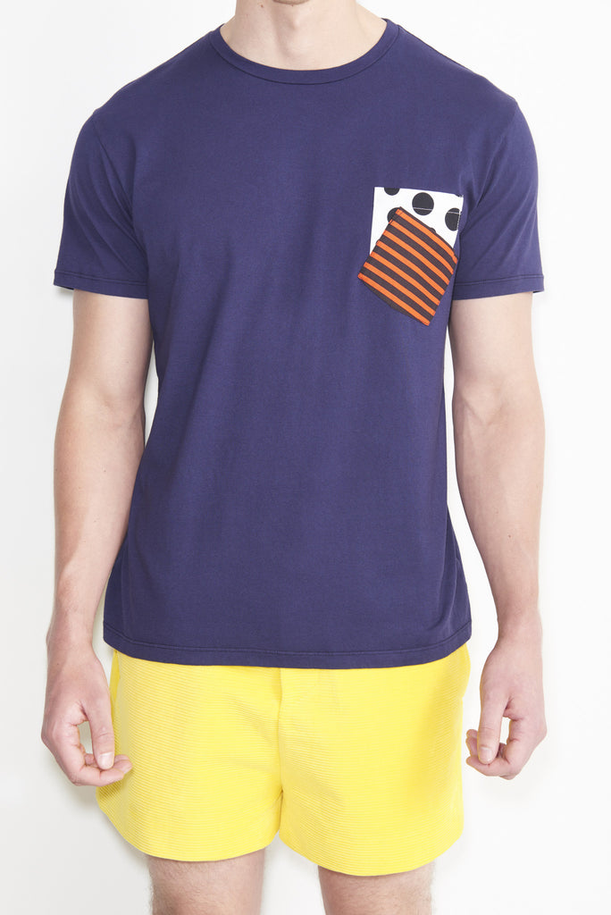 Double Pocket Polka Dot Stripe T-Shirt