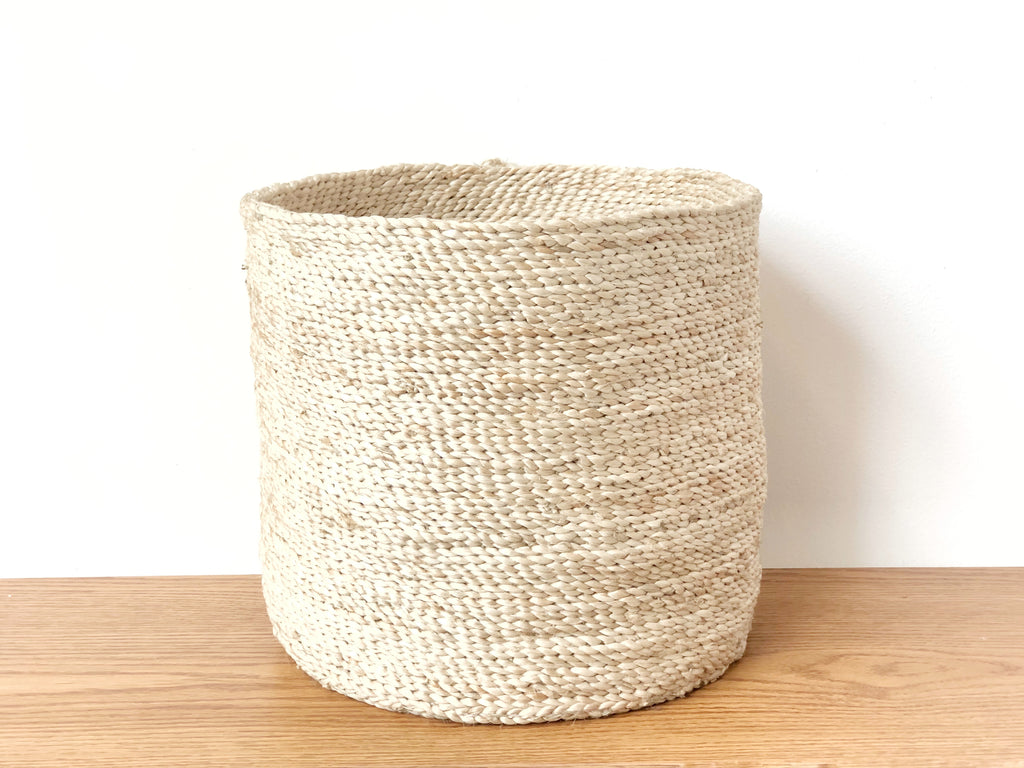 Handwoven Jute Basket Natural Round Small