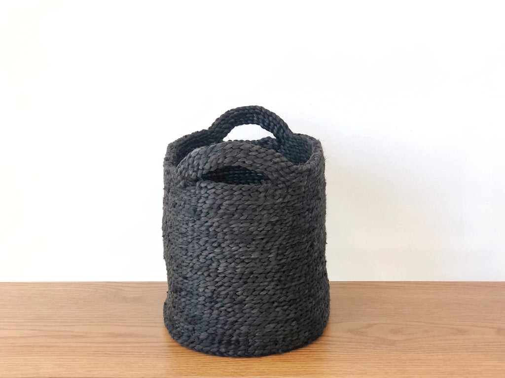 Handwoven Jute Basket Charcoal Extra Small