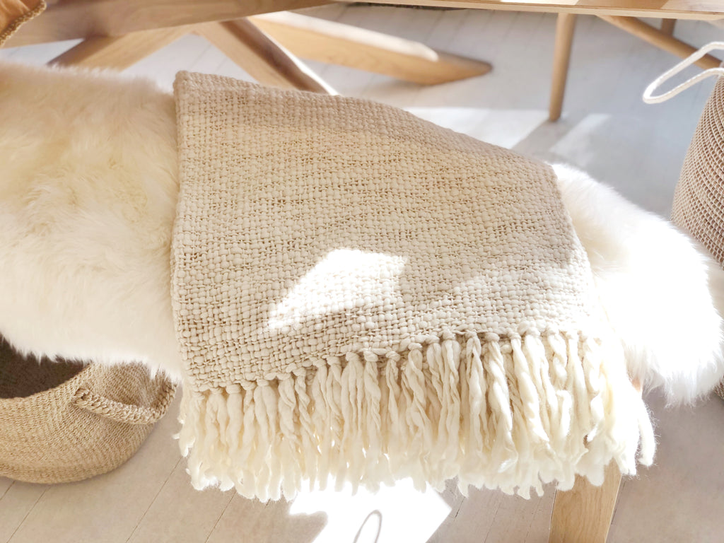 Handspun Natural Wool Throw