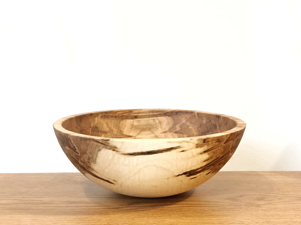 "Solid Maple Wood Bowl - 14""D"