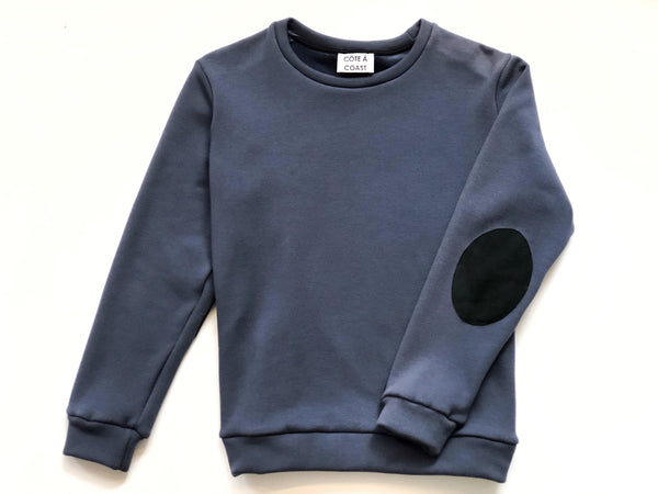 Blue Sweatshirt with Suede Elbow Patches