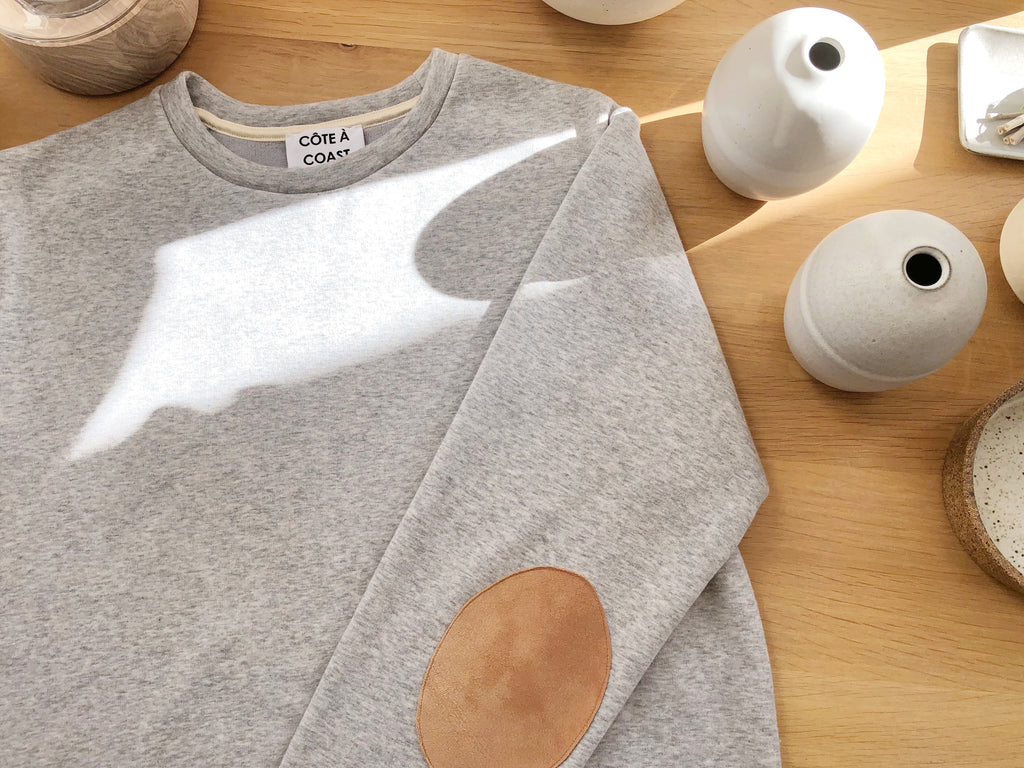 Heather Grey Sweatshirt with Suede Elbow Patches